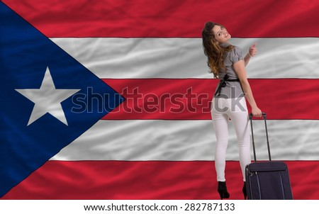 young beautiful woman is traveling to puertorico - stock photo