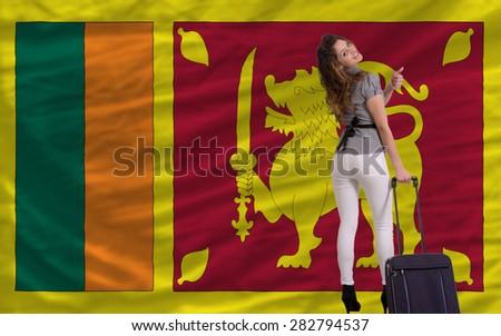 young beautiful woman is traveling to sri lanka - stock photo