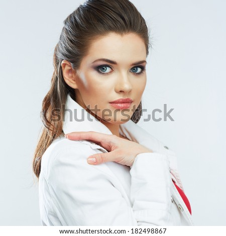 Young beautiful woman isolated white background portrait. Beauty model. - stock photo