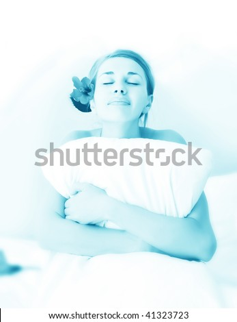 young beautiful woman ob bed - stock photo