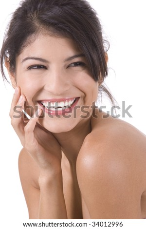 Young beautiful woman on a white background. - stock photo