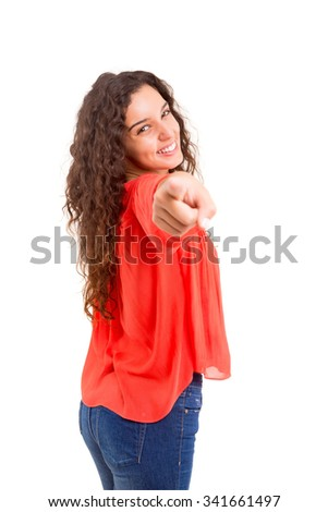 Young beautiful woman pointing at you, isolated over white - stock photo