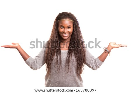 Young beautiful woman presenting your product, isolated over white background - stock photo