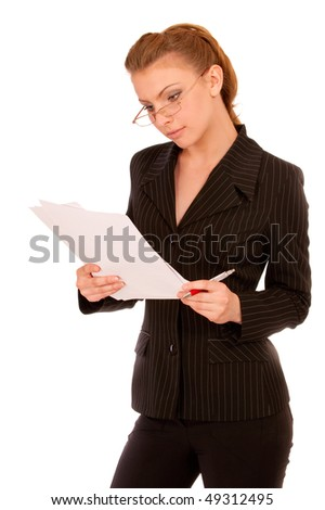 Young beautiful woman reading documents, isolated on white background. - stock photo