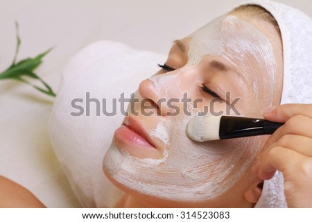 Young beautiful woman receiving clay facial mask in spa beauty salon.  Skin care, Beauty treatments. - stock photo