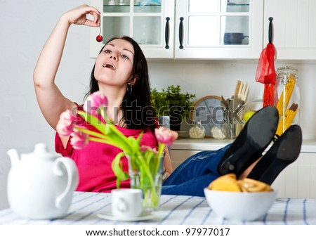Young beautiful woman relaxing at home - stock photo