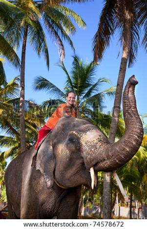 Young beautiful woman riding on big elephant with trunk up in palm forest. India, Kerala - stock photo