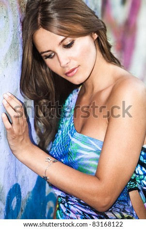 young beautiful woman summer portrait - stock photo