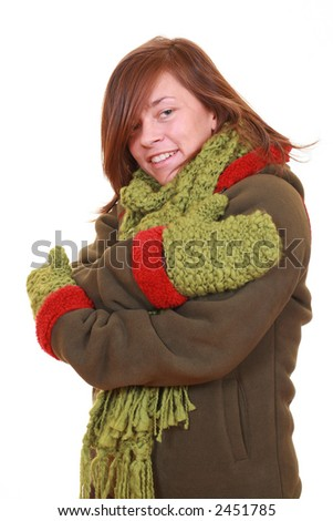 young beautiful woman -winter portrait - isolated on white - stock photo