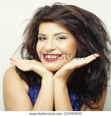 Young beautiful woman with big happy smile - stock photo