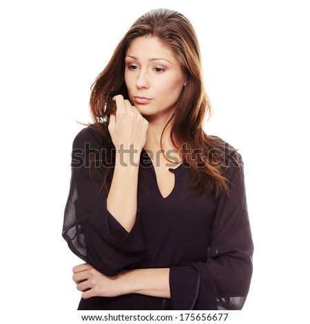 Young beautiful woman with depression, iolated  - stock photo