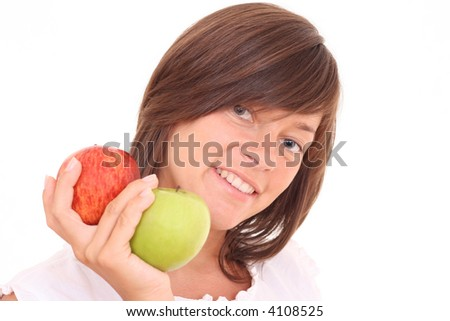 young beautiful woman with fresh apples isolated on white - stock photo