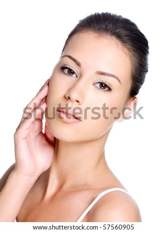 Young beautiful woman with healthy skin of a face - stock photo