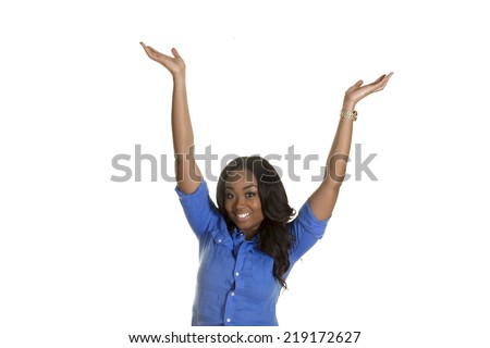 Young beautiful woman with her arms raised isolated on a white background - stock photo
