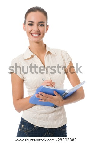 Young beautiful woman with notebook, isolated on white - stock photo