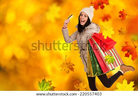Young beautiful woman with some shopping bags - stock photo
