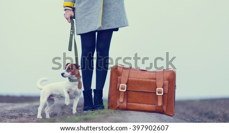 young beautiful woman with suitcase and dog standing on the road - stock photo