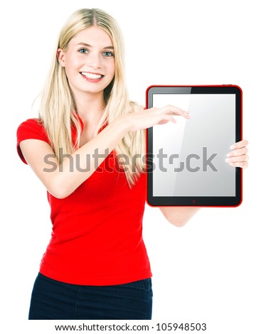 Young beautiful woman with tablet PC on white background - stock photo