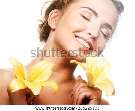 young beautiful woman with yellow flower  isolated on white - stock photo