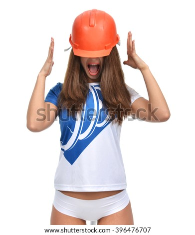 Young beautiful woman yelling screaming in orange construction hat isolated on white background - stock photo