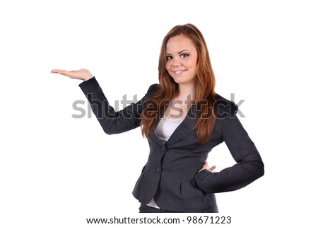 Young beautifully, positive business lady, smalling. - stock photo