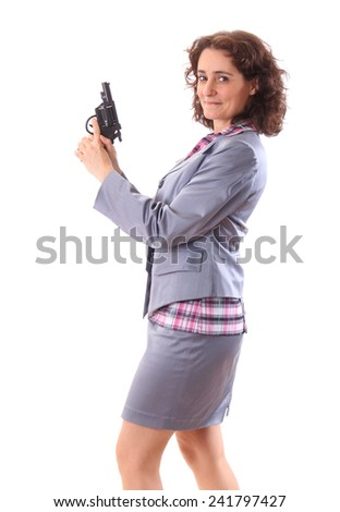 Young beauty business woman with gun - stock photo