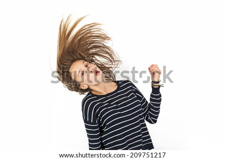 young beauty girl flying in jump with brown hair - stock photo