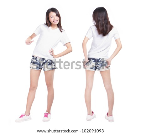 Young beauty girl with blank white shirt, ready for your design or logo, model is a asian woman - stock photo