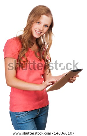 Young beauty student girl with tablet - stock photo