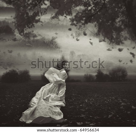 Young beauty woman over nature background in black and white - stock photo