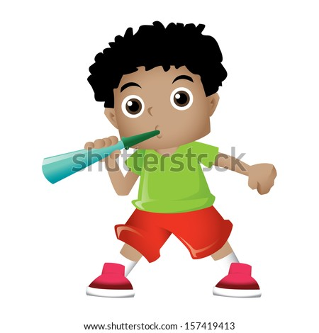 Young black boy blowing party trumpet - stock photo