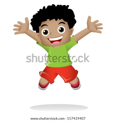 Young black boy jumping happily - stock photo