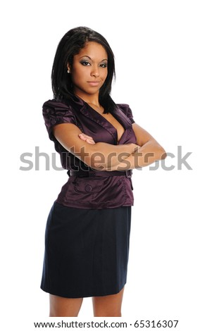Young Black Businesswoman with arms crossed isolated on a white background - stock photo