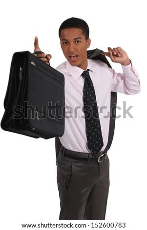 young black executive holding briefcase - stock photo