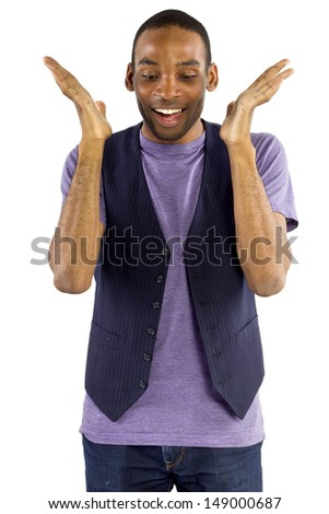 young black male isolated on a white background with positive expressions - stock photo