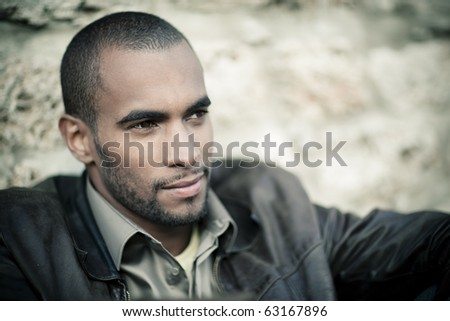 young black man portrait - stock photo