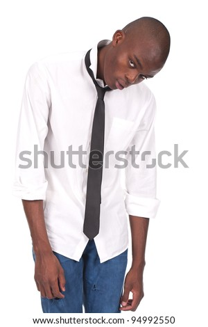young black man standing and feeling miserable - stock photo