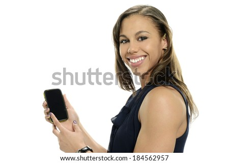 Young black woman with cell phone isolated on a white background - stock photo