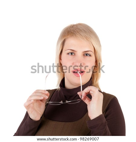 young blond business woman with the glasses in her hand - stock photo