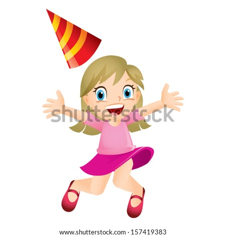 Young blond girl jumping happily - stock photo