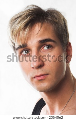young blond hair man - stock photo