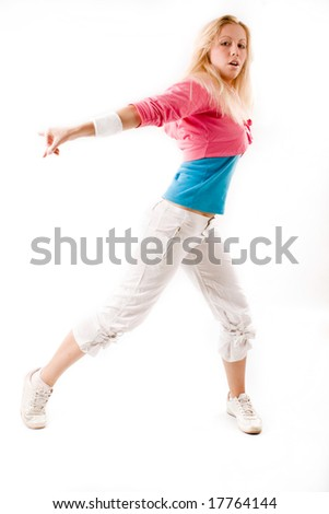young blond woman dancing hip hop, studio shot on white - stock photo