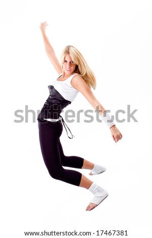 young blond woman dancing, studio white - stock photo