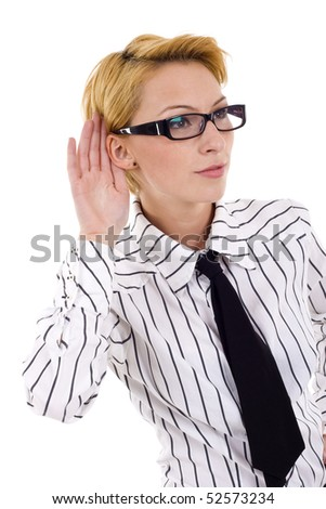 young blond woman listening gossip close up over white - stock photo