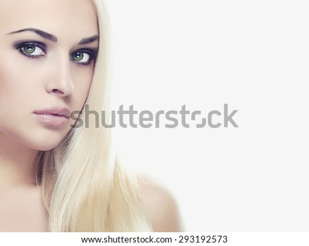 Young blond woman with make-up.Beautiful Girl.close-up fashion portrait isolated on white background - stock photo