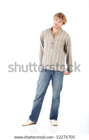 Young blonde adult caucasian man in casual clothes and scruffy beard on a white background. Not Isolated - stock photo