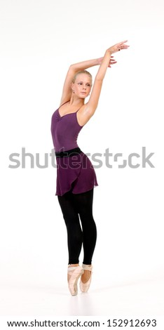 Young blonde ballerina teen in different positions. - stock photo
