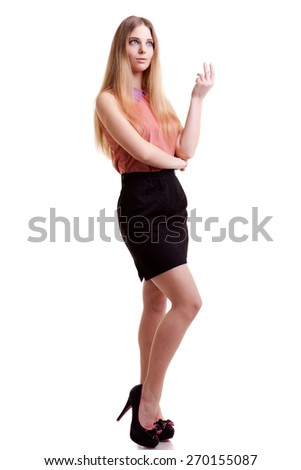 Young blonde businesswoman over white background. Studio shooting. Successful young business people - stock photo