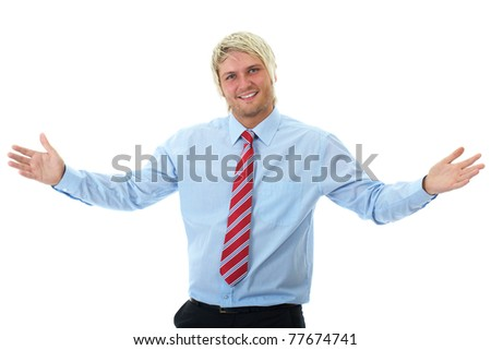 young blonde happy businessman shows welcome gesture, open arms, isolated on white - stock photo