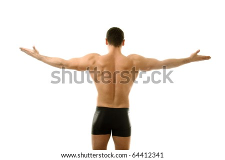 Young bodybuilder showing his biceps isolated over white - stock photo